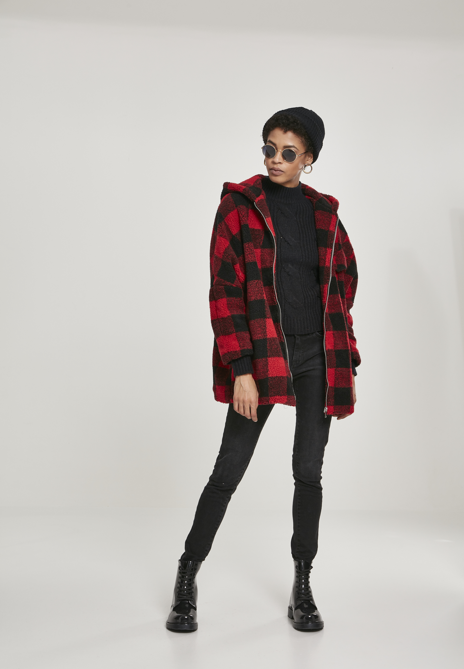 URBAN CLASSICS Ladies Hooded Oversized Check Jacket in 2 Farben