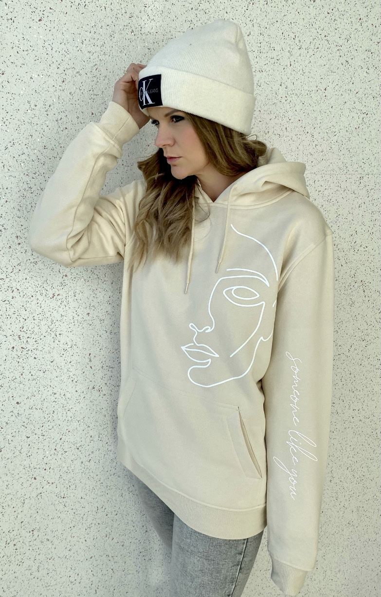 "Hoodie One Line Art ""Face"" Farbe Sand"